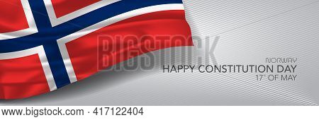 Norway Constitution Day Vector Banner, Greeting Card.