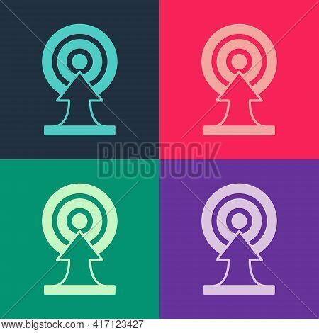 Pop Art Target With Arrow Icon Isolated On Color Background. Dart Board Sign. Archery Board Icon. Da