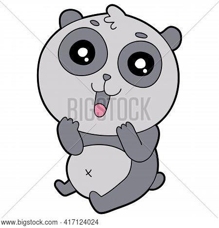Vector Educational Illustration Of Cute Cartoon Panda For Children And Scrap Book