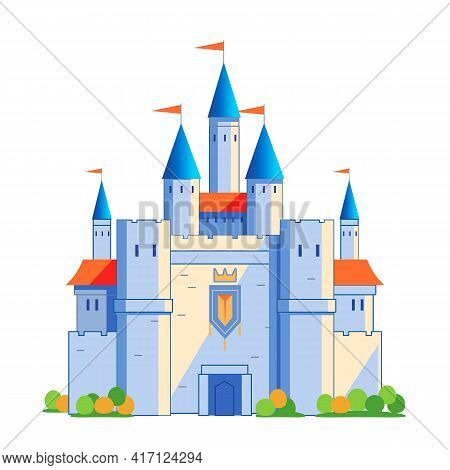 Medieval Castle Tower. Fairy Tail, King Fortress Castle And Fortified Palace With Gate. Cartoon Vect