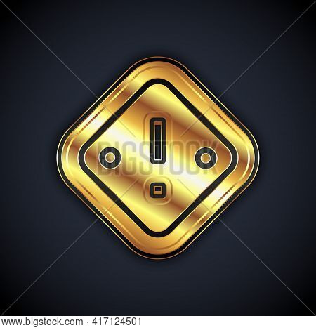 Gold Exclamation Mark In Triangle Icon Isolated On Black Background. Hazard Warning Sign, Careful, A