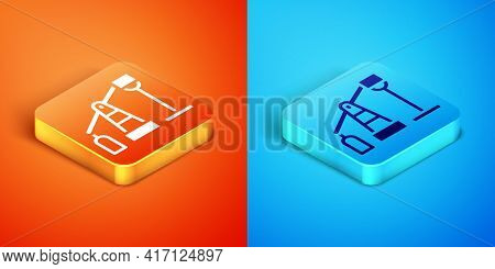 Isometric Oil Pump Or Pump Jack Icon Isolated On Orange And Blue Background. Oil Rig. Vector