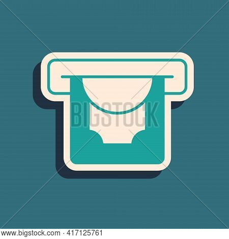 Green Atm - Automated Teller Machine And Money Icon Isolated On Green Background. Long Shadow Style.