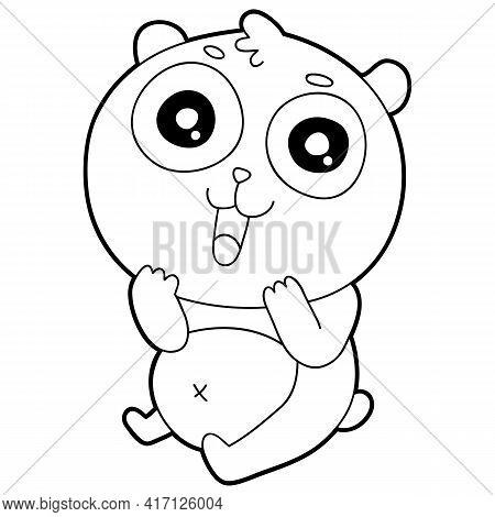 Vector Illustration Coloring Page With Cartoon Panda For Children, Coloring And Scrap Book, Printabl