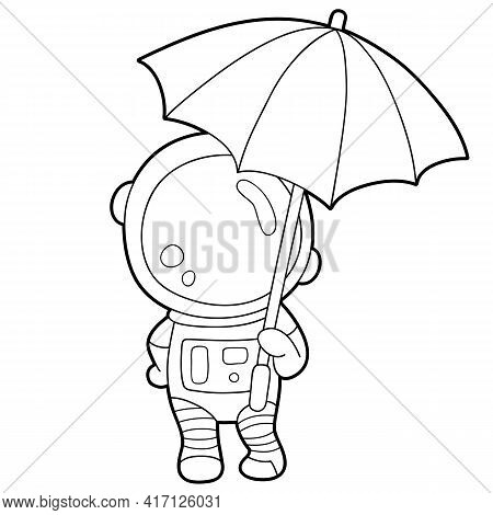 Vector Illustration Coloring Page With Cartoon Astronaut For Children, Coloring And Scrap Book, Prin