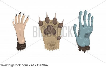 Animal Limb With Primate Clawed Paw And Dog Foot Vector Set