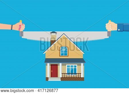 Property Division. End Of Marriage. Man And A Woman Holding A Saw In Hand Cut House. The Symbol Of T