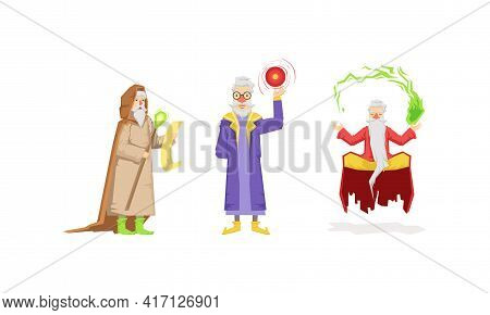 Wizard Or Sorcerer As Wise Old Man With White Beard Performing Magic Vector Set