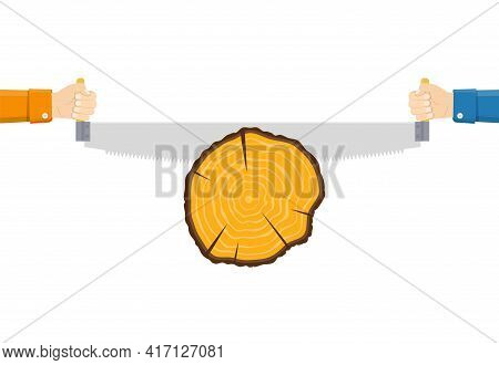 Two Men Sawing Wood. Carpenters With Saw In His Hand. Carpentry Work. Wood Sectional. Cross Section