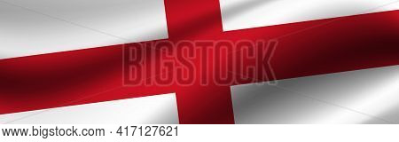 Banner With The Flag Of England. Fabric Texture Of The Flag Of England.