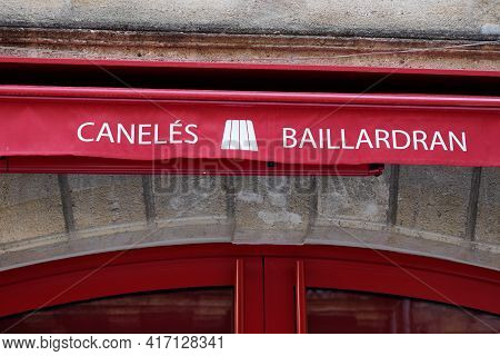 Bordeaux , Aquitaine France - 04 12 2021 : Baillardran Caneles Logo Brand And Sign Text Of Pastry Tr