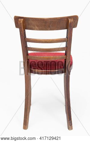 Wooden Chair From Turn Of 70s And 80s From Previous Century With Soft Red Seat. Polish Design And Pr