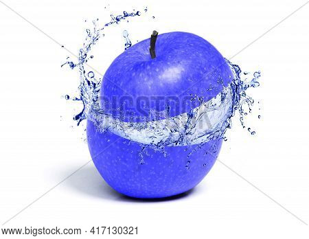 Juicy Blue Apple With Juicy Splash From The Inside, Isolated On White