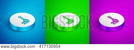 Isometric Line Honey Dipper Stick With Dripping Honey Icon Isolated On Blue, Green And Purple Backgr