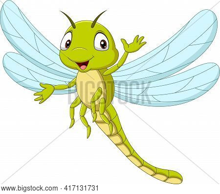 Vector Illustration Of Cartoon Funny Dragonfly Waving Hand