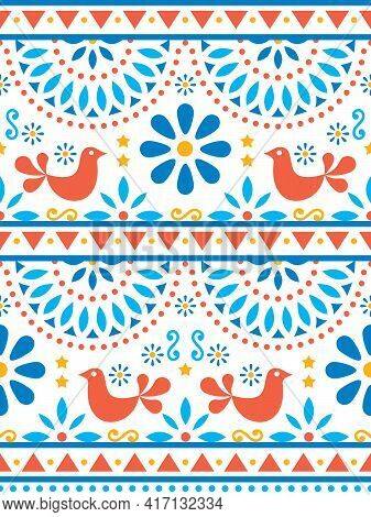 Mexican Folk Art Vector Seamless Pattern With Birds And Flowers, Textile Or Fabric Print Design Insp