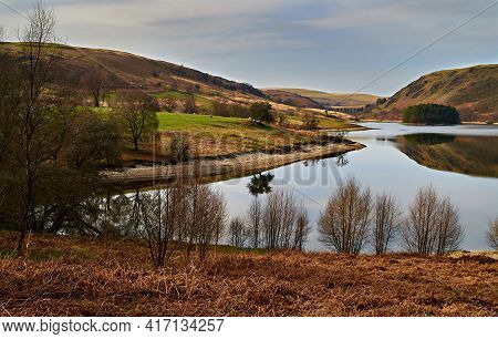 Penygarreg Reservoir In The Elan Valley Wales With The Craig Goch Dam In The Background. Taken Late