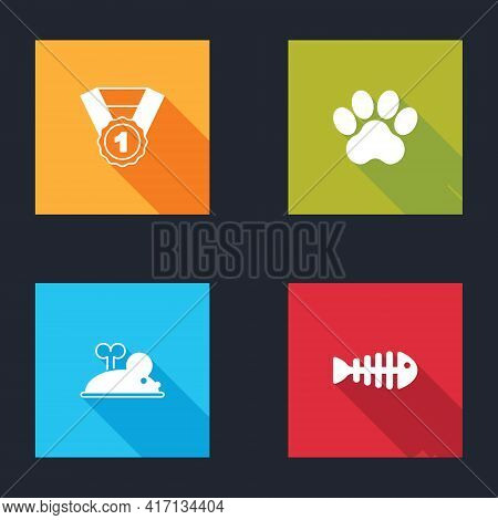 Set Dog Award Symbol, Paw Print, Clockwork Mouse And Fish Skeleton Icon. Vector