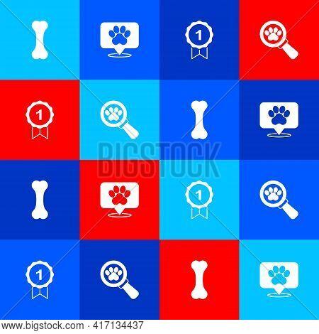 Set Dog Bone, Location Veterinary Hospital, Award Symbol And Veterinary Clinic Icon. Vector