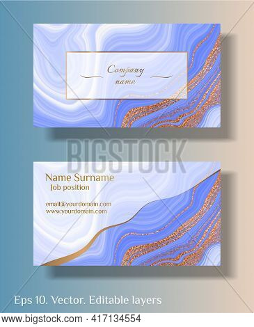 Blue Marble With Gold. Vector Business Card Template With Abstract Marble Stone Background. Natural