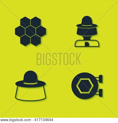 Set Honeycomb, Hanging Sign With Honeycomb, Beekeeper Protect Hat And Icon. Vector