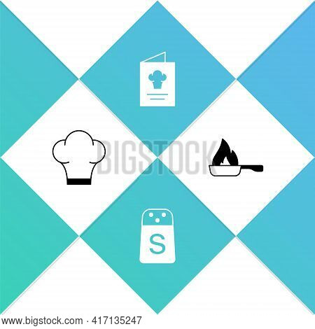 Set Chef Hat, Salt, Cookbook And Frying Pan Icon. Vector