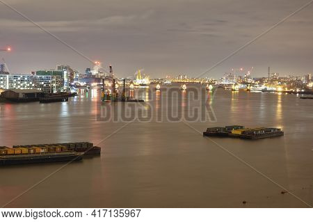River Thames With Far View Of The Flood Barriers That Designed To Prevent Central London From Floodi