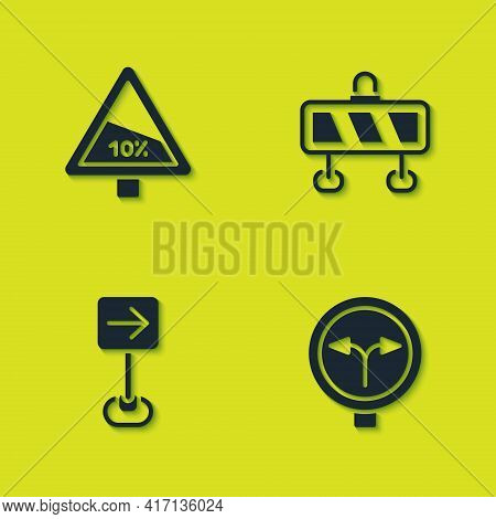 Set Steep Ascent And Descent Road, Fork In The, Traffic Sign Turn Right And Road Barrier Icon. Vecto