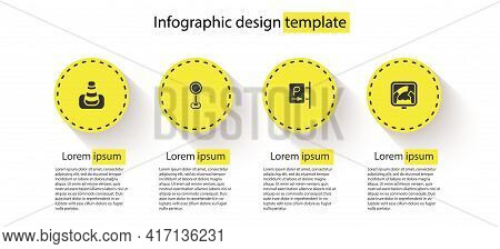 Set Traffic Cone, Road Traffic Sign, Parking And Drawbridge Ahead. Business Infographic Template. Ve