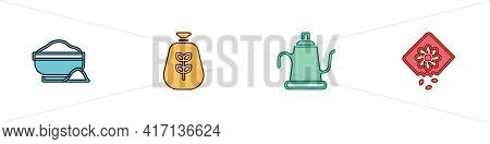 Set Flour Bowl, Bag Of Flour, Watering Can And Pack Full Seeds Plant Icon. Vector