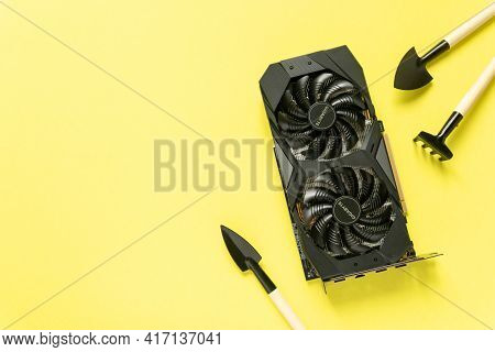 Noyabrsk, Russia, April 1, 2021 Gigabyte Geforce Rtx 2060 Oc 6g Graphics Card With Garden Tools. Min