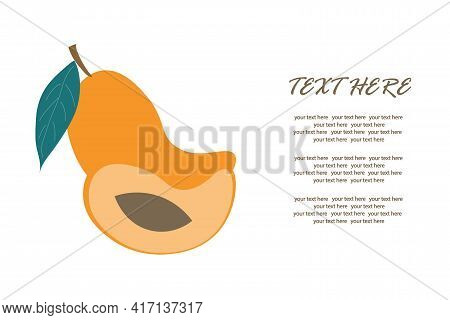 Ripe Mango With A Slice In A Cut On An Isolated Background For An Inscription. Vector Illustration.
