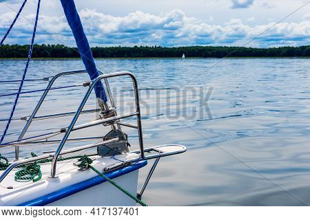 Sailing On A Lake. View On A Sailboat Detail, Sailboat Bow. Summer Vacations, Cruise, Recreation, Sp