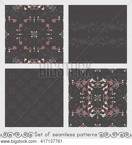 Set Of Seamless Patterns Floral With Lily Flowers And Hearts. Dark Gray, Pink, Cream Ivory And Paste