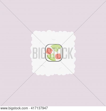 Cucumber And Salmon Rice Roll On Pink Background