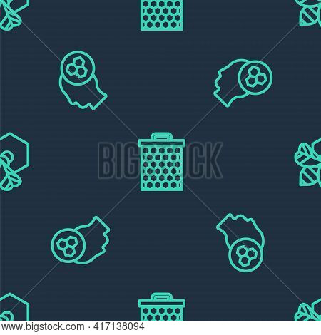 Set Line Honeycomb, Beekeeper And And Honeycomb On Seamless Pattern. Vector