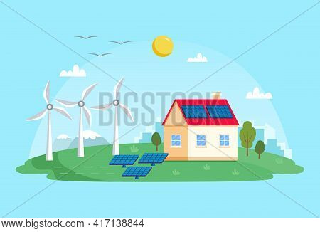 Green Energy - Landscape With Wind Power Station, Solar Panels, Small House. Concept Illustration Fo