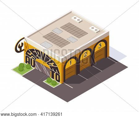 Isometric Auto Service. Car Service Top View Concept. Repair Service Template With Garage Doors. Mod