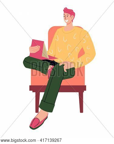 Man Sits In A Chair And Working Or Communicating Remotely From Home On A Tablet, Flat Cartoon Vector