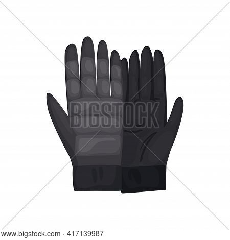 Winter Gloves Or Leather Mittens For Men As Handwear In Winter Or Autumn Season. Vector Design Symbo