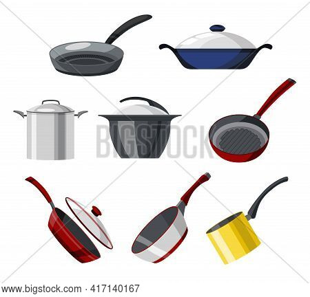 Cooking Pans And Pots Colorful Vector Collection. Set Of Isolated Icons Skillet, Saucepan For Soup,