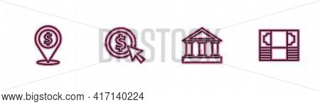 Set Line Cash Location, Bank Building, Coin Money With Dollar And Stacks Paper Cash Icon. Vector