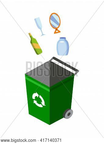 Garbage Can For Sorting. Recycling Elements. Colored Waste Bin With Glass Trash. Separation Of Waste