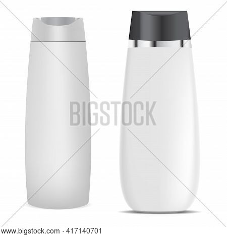 Shampoo Bottle. Cosmetic Product Package Mockup, Isolated On White. Plastic Jar For Liquid Soap, Bat