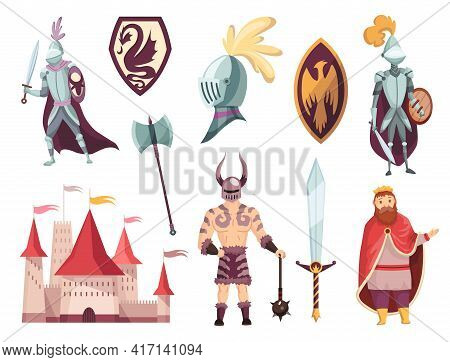 Medieval Kingdom Characters Of Middle Ages Historic Period Vector Illustrations. Peoples And Object