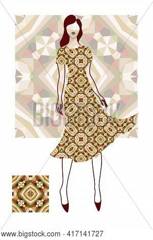 Beautiful Woman, Fashion Model, Fashionable Dress, Geometric Seamless Pattern, Modern Style, Vector