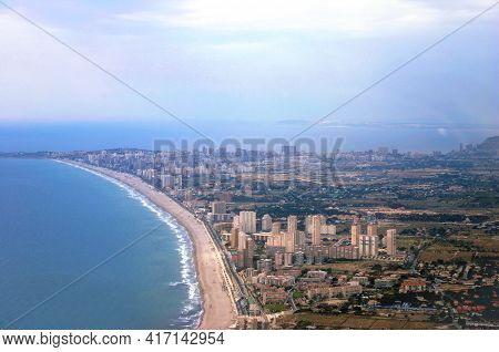 View From An Airplane Of The Magnificent And Touristic Mediterranean City Of Benidorm, A Tourist Pla