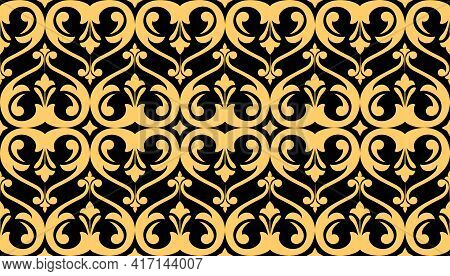Floral Pattern. Vintage Wallpaper In The Baroque Style. Seamless Vector Background. Black And Gold O