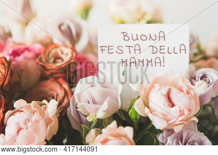 Beautiful Bright Bouquet Of Colorful Roses With White Card With The Inscription Happy Mothers Day In