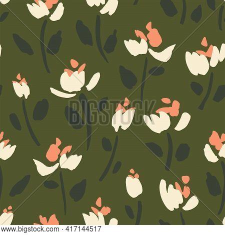 Splatter Flower Seamless Vector Pattern. Flowers Like Splattered Paint In White And Pink Over Dark G
